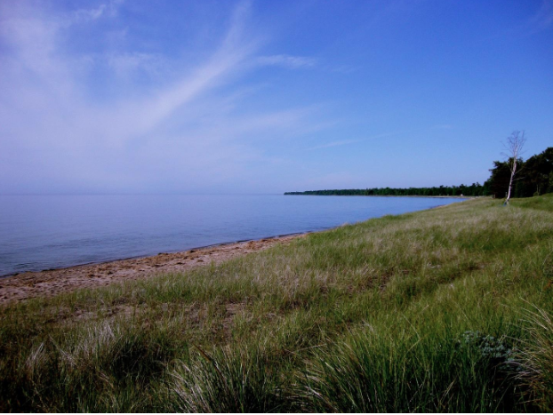 Lily Bay - One of the sights on my OD roller ski in Door County. It was perfect roller skiing weather. Cool and sunny.
