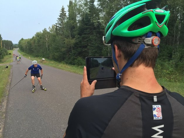 CXC Team Coach Andy Keller, taking video of Masters Camp members