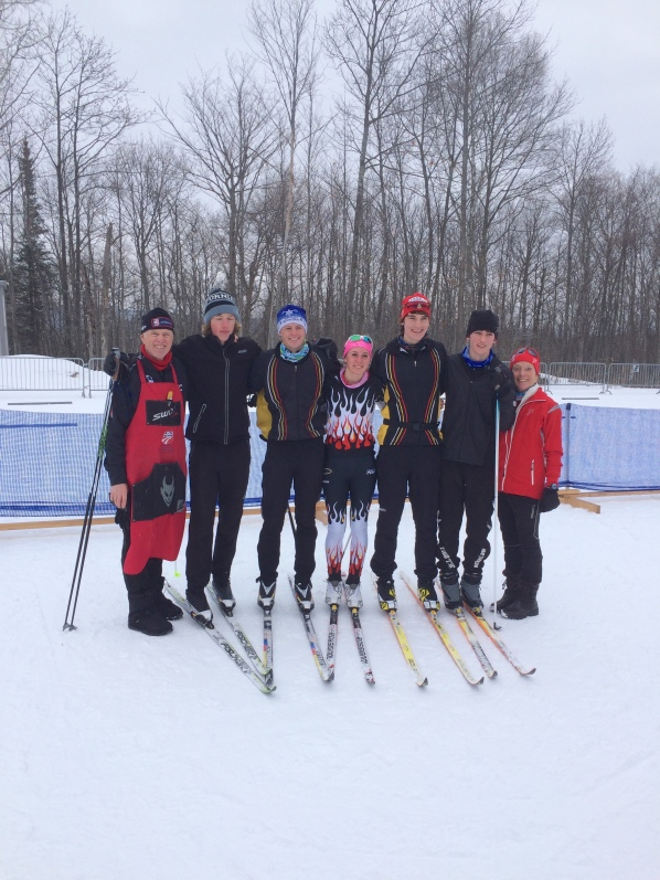 Coach Ken Schoville at Senior Nationals with athletes from the Lakeland Nordic Ski Team