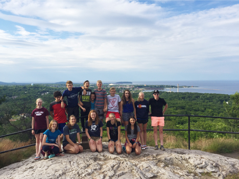 Kyle Bratrud, Felicia Gesior, and I took the U16 Dream Campers to the top of Mt. Marquette for a sweet view of Marquette.
