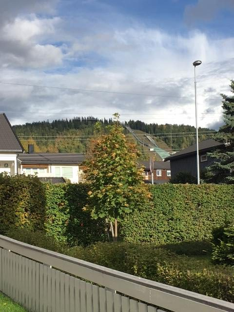 View from Nichole Bathe's street in Lillehammer, Norway. You can see the ski jump in the back!