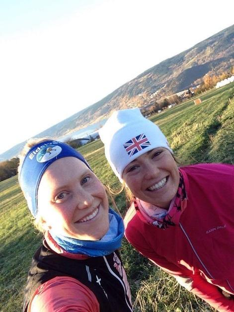 Nichole Bathe Great Britain Olympian (Myself and Annika out on a long run in Lillehammer