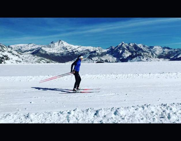 Nichole Bathe Great Britain Olympian Skiing on the glacier, it almost looks fake 😉